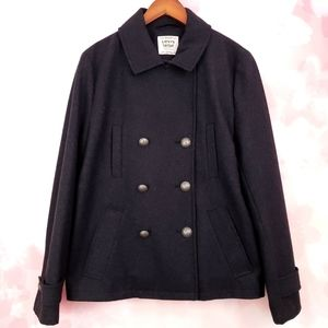 Levi's Double Breasted Grey Wool Blend Pea Coat
